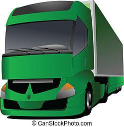 vrachtwagen, vector, groene, illustratie