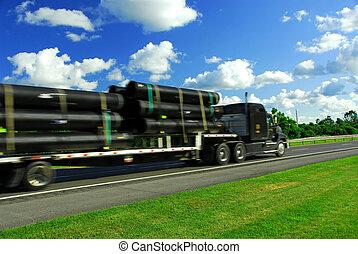 vrachtwagen, verhuizen, straat