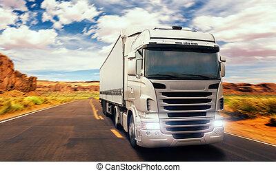 vrachtwagen, vracht, voorkant, vallei, straat, aanzicht