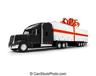 vrachtwagen, vrijstaand, aanzicht, black-red, kado, voorkant