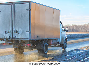 vrachtwagen, winter, gaat, snelweg