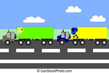 vrachtwagens, animatie, groot, snelweg, verhuizing, ...