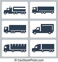 vrachtwagens, iconen, set, vector, zijaanzicht