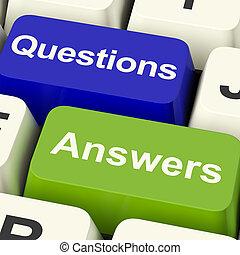 vragen, en, antwoorden, computer stemt, het tonen, steun,...