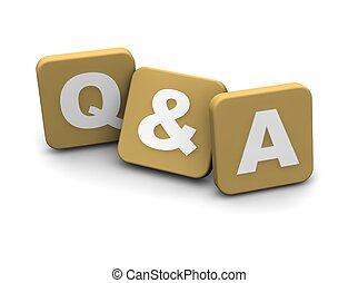 vragen, en, antwoorden, text., 3d, gereproduceerd,...