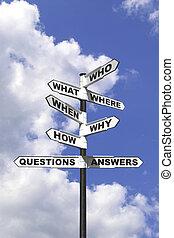 vragen, en, antwoorden, wegwijzer, verticaal