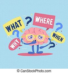 vragen, hersenen, menselijk, denkt, gekke , omringde, karakter, vrijstaand, achtergrond., vector, witte , riddle., plat, kleurrijke, ondervraging, spotprent, illustration., lost op, punten, probleem, of, bril