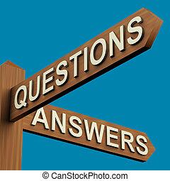 vragen, of, antwoorden, richtingen, op, een, wegwijzer
