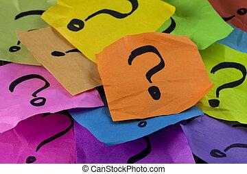 vragen, of, beslissing maken, concept