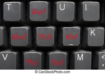 vragen, toetsenbord