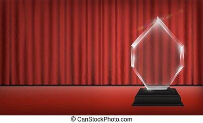 vrai, 3d, transparent, acrylique, trophée, à, rideau rouge,...