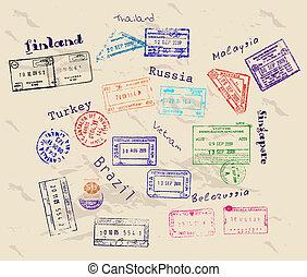 vrai, 9, timbres, visa, countries.