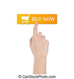 vrai, achat, bouton, isolé, main, fond, blanc
