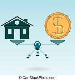 vrai, achat, or, balances, maison, symbole, propriété, dollar, hypothèque, balance., insurance., monnaie