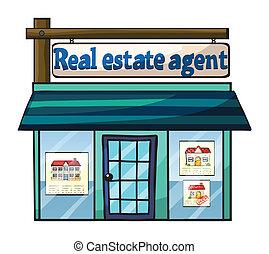 vrai, agent's, bureau, propriété