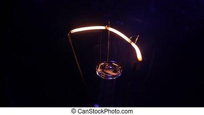 vrai, allumer, lumière, macro., scintiller, ampoule, fermé.