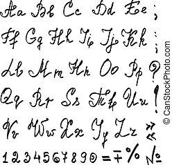 vrai, alphabet, vecteur, main, calligraphic