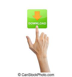 vrai, app, isolé, main, fond, téléchargement, bouton blanc