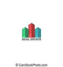 vrai, appartements, logement, emblème, coloré, propriété, urbain, mockup, résidentiel, agence, district, silhouettes, ville, architectural, complexe, logo, ou, identité, gratte-ciel