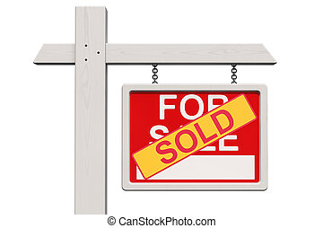 vrai, autocollant, propriété, vendu, signe vente, rendre, 3d