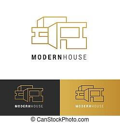 vrai, bâtiment, ensemble, logos, propriété, développement, icônes, éléments, logo