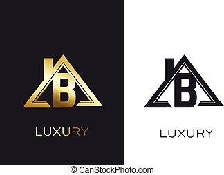 vrai, b, propriété, business, maison, initiale, logo