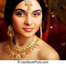vrai, backgroun, sari, beauté, doux, indien, fille noire,...