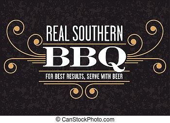 vrai, barbecue, emblème, méridional