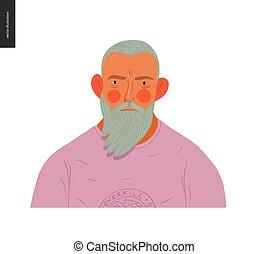 vrai, barbu, gens, portraits, -, blonds, homme
