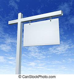 vrai, bleu, propriété, ciel, signe, vide, blanc