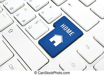 vrai, bleu, propriété, concept, maison, bouton, touche entrée, clavier, maison, ou