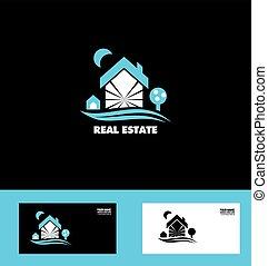 vrai, bleu, propriété, maison, logo, icône