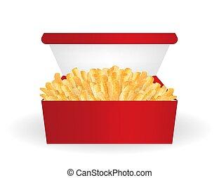 vrai, boîte, paquet, frire, francais, vecteur, rouges