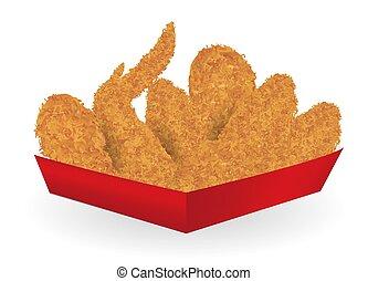 vrai, boîte, paquet, papier, poulet, frit, rouges