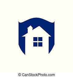 vrai, bouclier, propriété, maison, -, symbole., toit, fenêtre, vecteur, maison, défense, logo, icon., sauver, sécurité, cheminée