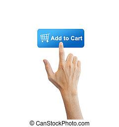 vrai, bouton, isolé, main, e-commerce, fond, blanc