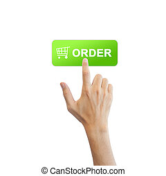 vrai, bouton, isolé, main, fond, blanc, ordre