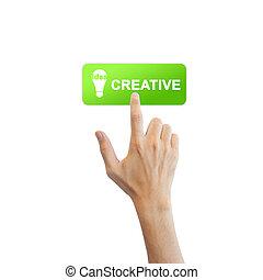 vrai, bouton, isolé, main, idée, fond, blanc, créatif