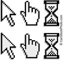 vrai, brouillé, vecteur, curseurs, ombre, pixel