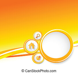 vrai, cercles, orange, propriété, brochure