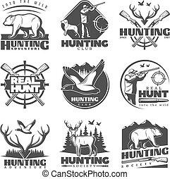 vrai, chasse, étiquettes, ensemble