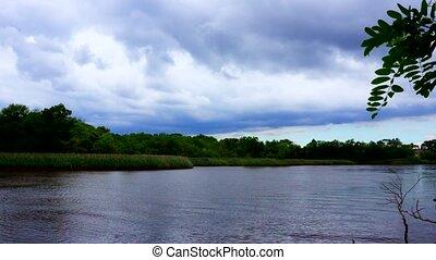 vrai, ciel, nuages, lac, temps