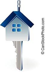 vrai, clef maison, propriété, logo