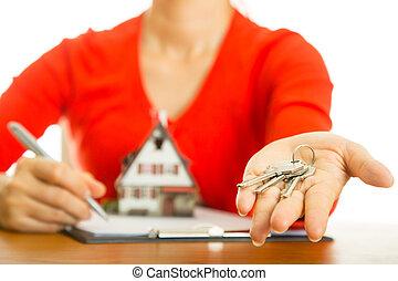 vrai, clef maison, propriété, ton