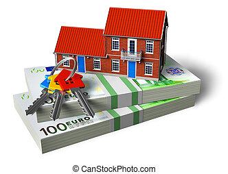 vrai, concept, financier, propriété