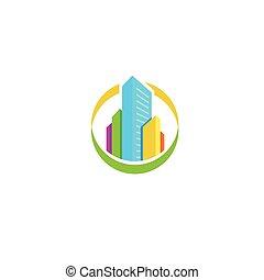 vrai, concept, propriété, coloré, maison, agence, isolé, logotype, vecteur, gratte-ciel, blanc, icône, maison, logo, illustration.