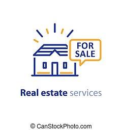 vrai, concept, propriété, maison, offre, vente, business, publicité