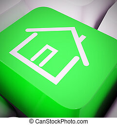 vrai, concept, propriété, moyens, -, illustration, par, propriété, internet, maison, icône, 3d