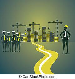 vrai, construction, fond, propriété