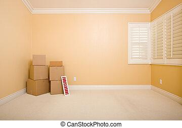 vrai, copie, forclusion, propriété, espace, plancher, signe, boîtes, en mouvement, vide, wall., salle vide